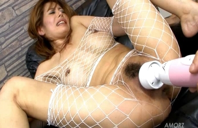 Iori Mizuki Lovely Asian doll in fishnets is getting some hot vibrator action